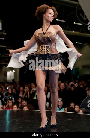 PARIS, FRANCE, Female Model SHowing Chocolate Dress, Chocolate Trade Show, Models in Chocolate Dress, Fashion Show - Stock Photo