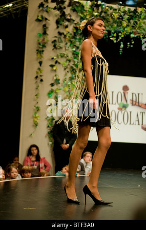 PARIS, FRANCE, Visiting Chocolate Trade Show, Models in Chocolate Dress, Fashion Show, - Stock Photo