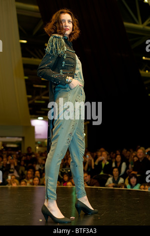 PARIS, FRANCE, Female Fashion Model, Chocolate Trade Show, Models in Chocolate Outfit, Fashion Show, - Stock Photo