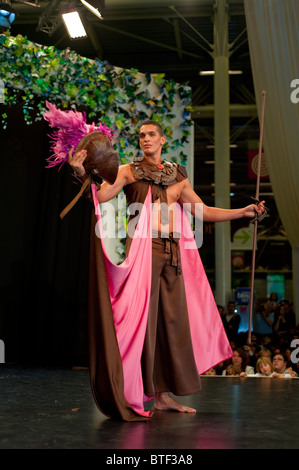 PARIS, FRANCE, Young Male Model at Chocolate Trade Show,  in Chocolate Costume, Fashion Show, - Stock Photo