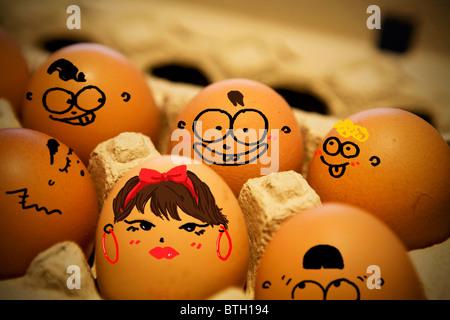 funny eggs - Stock Photo
