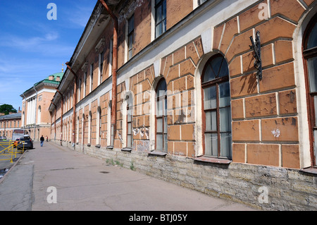 The former red brick barracks of the 4th Company of the Pavlovsky Reserve Regiment, St Petersburg, Russia - Stock Photo