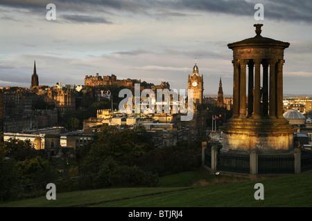 Edinburgh Castle, Balmoral Hotel & Dugald Stewart Monument, Calton Hill, Edinburgh, Scotland - Stock Photo