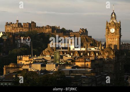 Edinburgh Castle & Balmoral Hotel seen from Calton Hill, Edinburgh, Scotland - Stock Photo
