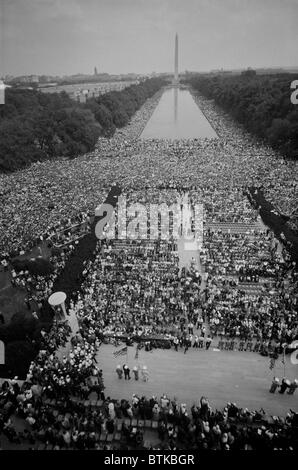 1963 March on Washington, at the height of the 20th century civil rights movement.  Crowds of people on The Mall, - Stock Photo