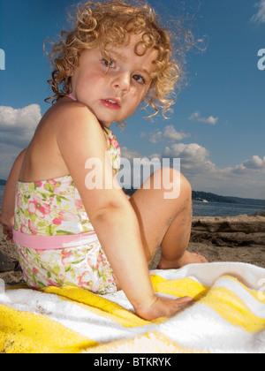toddler girl on beach - Stock Photo