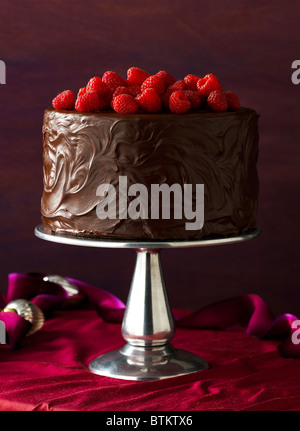 Chocolate cake with chocolate frosting and raspberries on a Holiday table. - Stock Photo