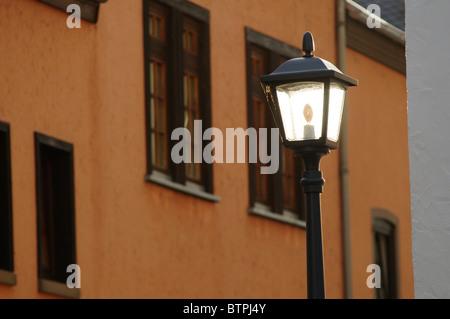 Germany, Hesse, Limburg an der Lahn, Old Fashioned street light - Stock Photo