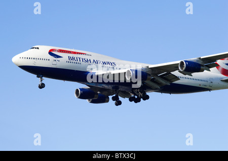 Boeing 747 Jumbo Jet operated by British Airways on approach for landing at London Heathrow Airport - Stock Photo