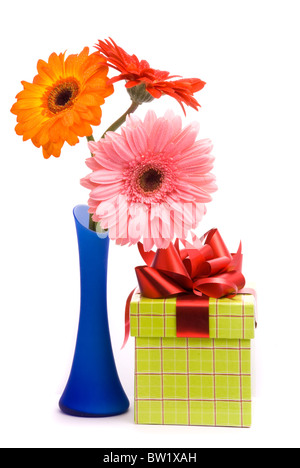 Beautiful gerber flowers in blue vase on white background - Stock Photo