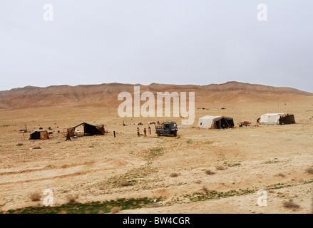 Bedouin settlement in Syrian desert. - Stock Photo