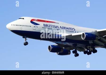 British Airways Boeing 747 Jumbo Jet on approach for landing at London Heathrow Airport - Stock Photo