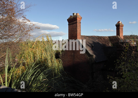 A view of a gable ended house viewed here from one of the lovely walks in Bridgnorth,Castle  Hill Walk offers many - Stock Photo