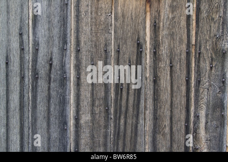 Old wooden planks with rusty nails - Stockfoto