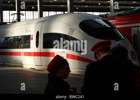 The Wolfsburg Ice Train in the Mainstation, Munich Upper Bavaria Germany - Stock Photo