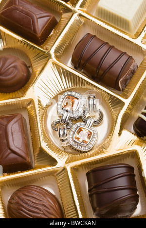 USA, Illinois, Metamora, Pair of earrings in box of chocolates - Stock Photo