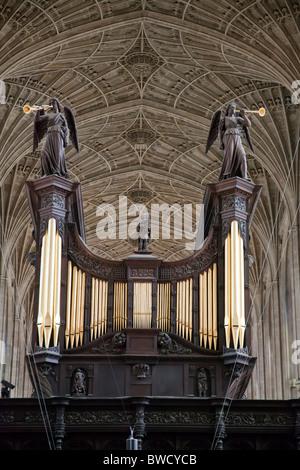 Organ & Vaulting at King's College Chapel Cambridge, England UK. - Stock Photo
