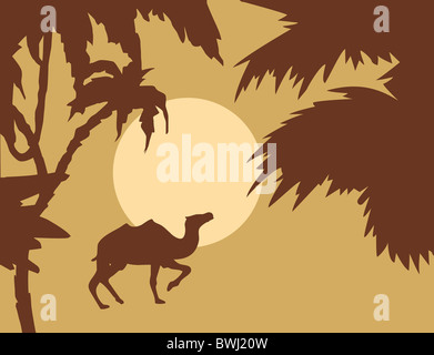 vector tropical landscape with palm on foregrounds - Stock Photo