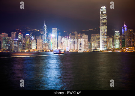 The amazing Hong Kong skyline as seen from victoria, harbour,. The imposing structures include the ifc, bank of - Stock Photo