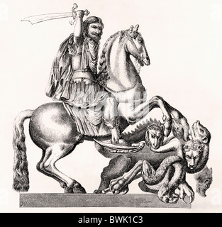 King Charles II of England represented as St George slaying the dragon. 17th century equestrian statue by Gottfried - Stock Photo