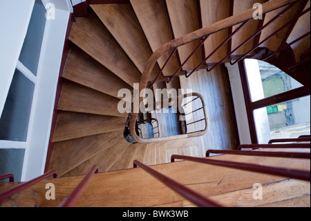 Paris, France, French Real Estate Market, Interior, Old Wooden Staircase in Apartment Building - Stock Photo