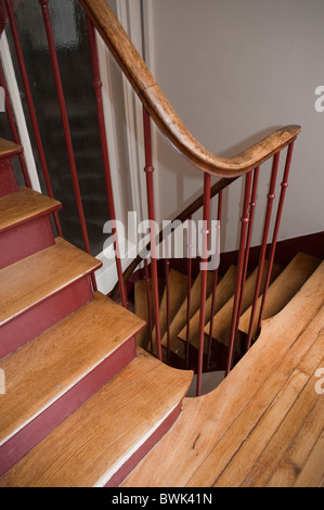 Paris, France, French Real Estate Market, Old Wooden Staircase in  Building - Stock Photo