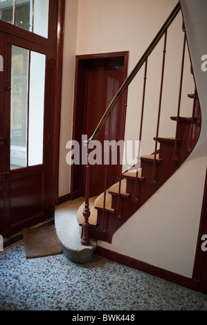 Paris, France, French Real Estate Market, Old Wooden Staircase, Hallway, in Apartment Building - Stock Photo