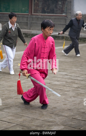 Chinese woman holding a sword and performing tai chi, Xi'an, China - Stock Photo