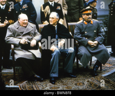 Yalta Conference 1945 Winston Churchill Franklin D. Roosevelt Joseph Stalin Castle Liwadija British prime minist - Stock Photo