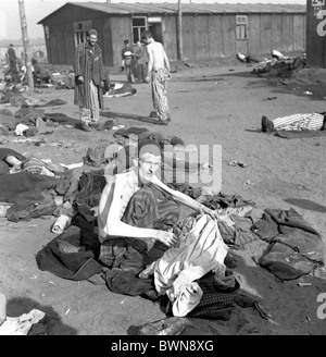 World War II Bergen-Belsen concentration camp Germany Europe April 17 1945 history historical historic prison - Stock Photo