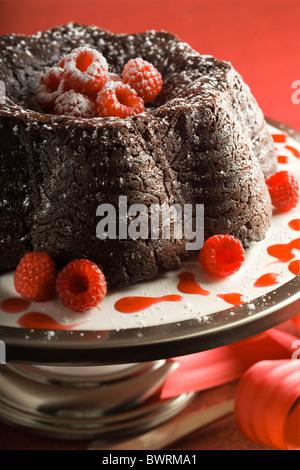 Chocolate Fudge Cake with Raspberry Coulis. - Stock Photo