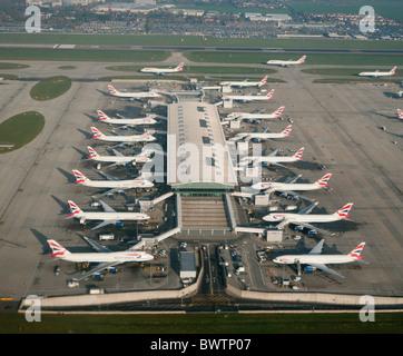 British airways planes at Terminal 5 Heathrow airport in Britain - Stock Photo