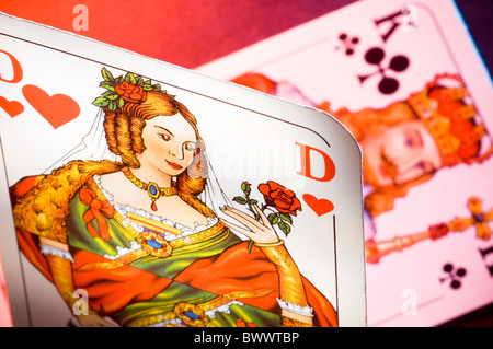 Playing Card Queen of Hearts and King of Clubs - Stock Photo