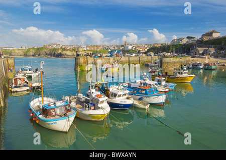 Boats moored in the harbour, Newquay, Cornwall, England, GB, UK, EU, Europe - Stock Photo
