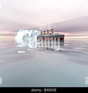 TITANIC - The beautiful ocean liner near icebergs in the north Atlantic ocean. - Stock Photo