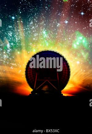 Radio telescope and night sky, artwork - Stock Photo