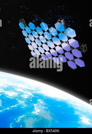 Mirror array in space, artwork - Stock Photo