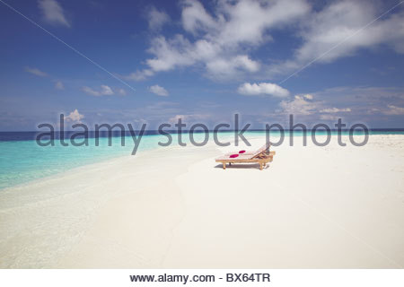 Two deck chairs on tropical beach ,Maldives, Indian Ocean, Asia - Stock Photo