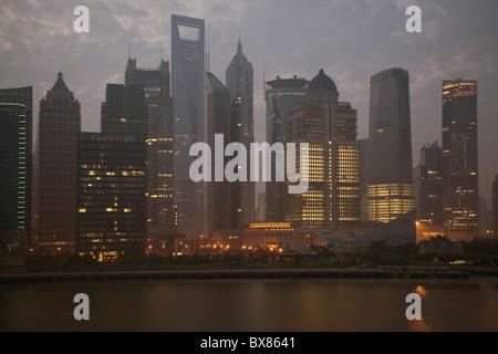 China Shanghai Pudong at dusk - Stock Photo