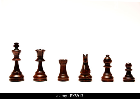 chess pieces isolated, black set - Stock Photo
