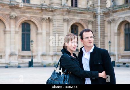 Couple at the Louvre Paris - Stock Photo