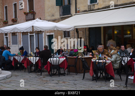 Restaurant terrace Campo San Stefano square San Marco district Venice the Veneto northern Italy Europe - Stock Photo