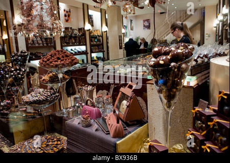 Paris, France,  Luxury Shopping, 'Michel Cluizel', French Chocolate Shop, inside food products on display, Chocolatier - Stock Photo
