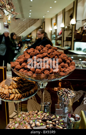 Paris, France, Shopping, 'Michel Cluizel', French Chocolate Truffles on Display in Shop Window - Stock Photo