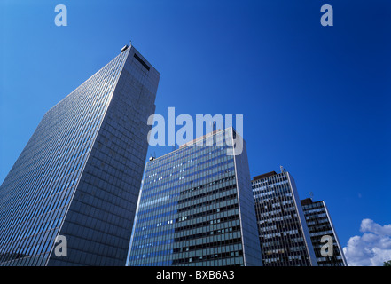 Low angle view of modern skyscrapers - Stock Photo