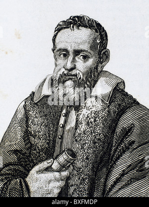 Galileo Galilei (1564-1642). Physicist, Italian mathematician and astronomer. Engraving. - Stock Photo