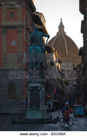 Piazza di Belle Arti square with Dome of the Duomo cathedral in background Florence (Firenze) Tuscany central Italy - Stock Photo