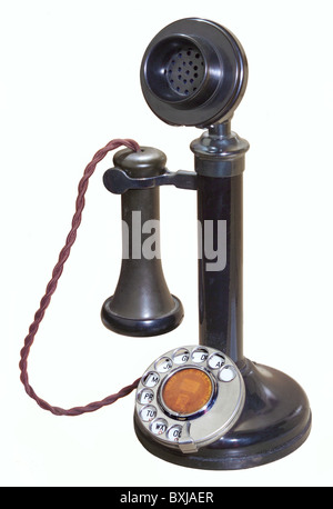 1920s Black Candlestick Telephone Stock Photo Royalty