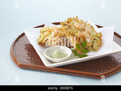 Mixed vegetable and seafood tempura - Stock Photo