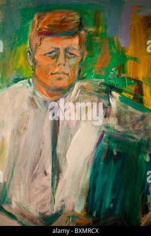 Portrait of President John F. Kennedy, by Elaine de Kooning - Stock Photo